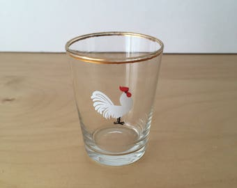 Set of 6 Vintage Shot/Liqueur Glasses with Kitsch, Chicken Motifs and Gold Rims