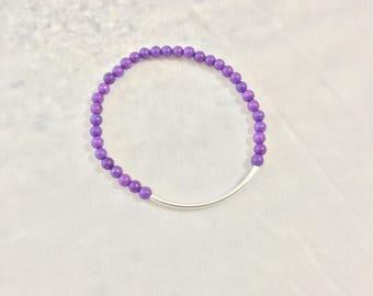 sale Purple Bead SLIM BAR BRACELET stacker bracelet minimalist bracelet purple bracelet purple beads silver bar jewelry