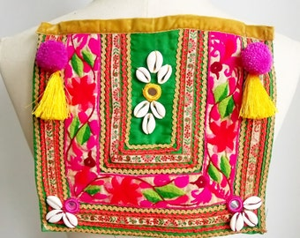 "Ethnic patch fuchsia, boho, banjara, tribal, ""one of a kind"", handmade"