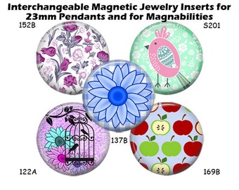 "Magnetic Inserts for Magnabilities Jewelry Interchangeable Magnet Insert for 23mm Pendant 1"" Magnability Inserts, Changeable Magnets"