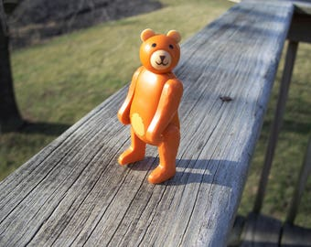 "Vintage Fisher Price circus train bear 3-1/2"" tall 