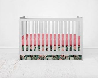 Straight Crib Skirt - Succulent - Roses. Southwest Baby Bedding. Cactus Crib Bedding. Aztec Crib Skirt. Cacti Crib Skirt.Floral Crib Skirt.