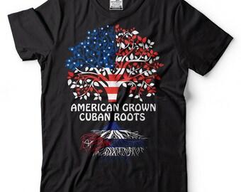 American Grown Cuban Roots T-Shirt American Cuban Patriotic Tee Shirt