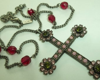 Pink Rhinestone CROSS Pendant Necklace by Rachel