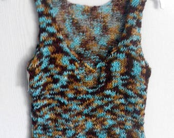 turquoise and Brown tank top for summer size 38