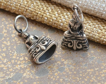 Sterling Silver Thai Meditation Buddha Amulet Charm, Thai Buddha Charm, Buddhist Charms, Buddhist Amulets, Silver Charms, One, BS17-0121D