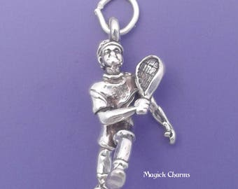 TENNIS PLAYER Charm .925 Sterling Silver Tennis Instructor Pendant - lp3141