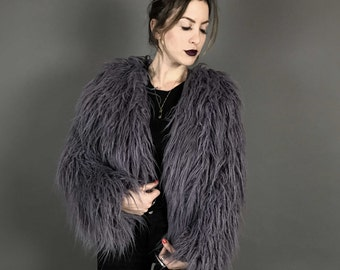 Purple Grey super shag faux fur shrug coat 70s vintage disco inspired