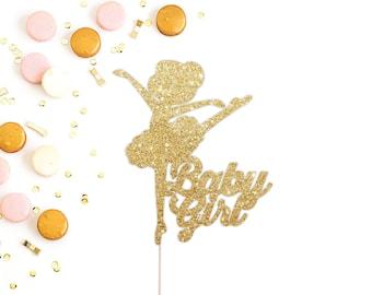 Ballerina Cake Topper, Baby Girl Cake Topper, Ballet Baby Shower Cake Topper, Gold Glitter Cake Topper, It's a Girl, Girl Baby Shower