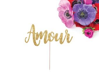 Amour Cake Topper, Wedding Cake Topper, Love Cake Topper, French Wedding Decor, French Themed Bridal Shower, Glitter Wedding Cake Topper