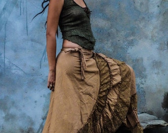 Long flamenca skirt, burning man festival boho skirt, wrap skirt, maxi skirt
