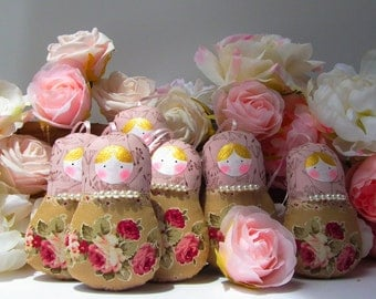 Babushka doll, matryoshka ornament, 5 dolls set Dusty pink and roses with pearls. Vintage inspired theme. Nice gift for anybody. Home decor