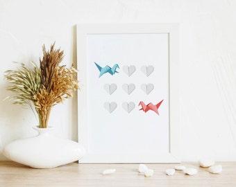 Art Print, Bird Art, Modern Printable art, Nursery art, Origami gift, Minimalist Home Art, Love Art, Japan wall art, PDF Art, 4 size print