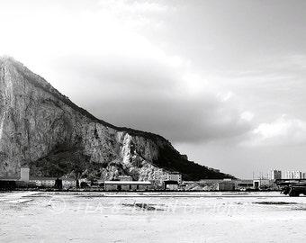 Travel photography, Spain, Mediterranean, landscape photo, modern photography, black & white photography, fine art print - Rock of Gibraltar