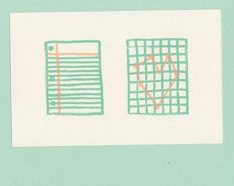 paper love postcard--screenprinted!