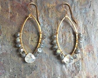 Labradorite and moonstone gold hoop statement earrings