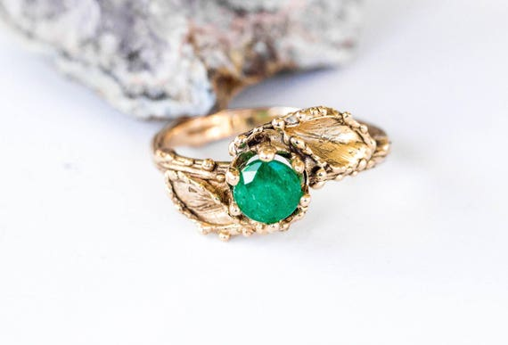 14k gold emerald leaf engagement ring, twig leaf engagement ring, nature emerald ring