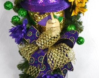 Mardi Gras Swags - Mardi Gras Wreaths - Mardi Gras Jester Mask Wreaths - Mardi Gras Front Door Wreaths - Mardi Gras Decorations