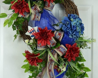 4th of July Front Door Wreath - Patriotic Wreath - American Flag Wreath - Memorial Day Door Wreath - American Wreath - Patriotic Door Wreath