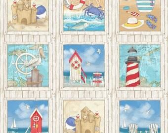 Surf's Up 21541-11; Beach Themed Fabric Panel; Northcott; Julie Dobson Miner; Beach Life; Crab, Lobster, Sand Castle