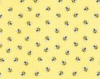 Bees Fabric Fat Quarter, Third Yard, Half Yard, By The Yard; C5376; Timeless Treasures; Lavender Garden