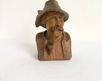 Wood Carving Man with Smoking Pipe