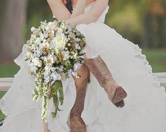 SILK bridal WEDDING bouquet ivory and white burlap