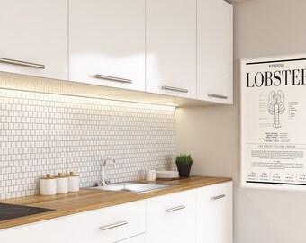 Lobster Art, Kitchen Wall Art, Wall Decor, Kitchen Decor, Food Art,