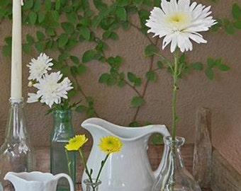 Vintage White Pitcher Stoneware -5.00 SHIPPING