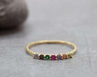 Gold Half eternity ring - Sapphire, Emerald, Ruby, Blue Topaz, Tanzanite, Peridot, Citrine - rainbow ring - dainty gold ring