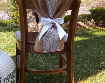 Burlap and Lace Chair Sash - Chair Swag - Burlap Chair Cover - Burlap Chair Tie - Wedding Chair Sash - Rustic Wedding Chair Sash - Set of 8