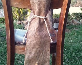 Nautical Chair Sash - Burlap Chair Swag - Burlap Chair Sash -  Burlap Chair Tie - Wedding Chair Sash - Rustic Wedding Chair Sash - Set of 12