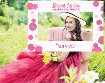 Photo Booth Prop - Breast Cancer Awareness Month - Survivor Frame - Digital File