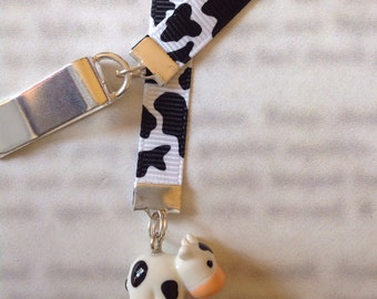 Cow bookmark,  cute bookmark with clip - Attach to book cover then mark the page with the ribbon. Never lose your bookmark!