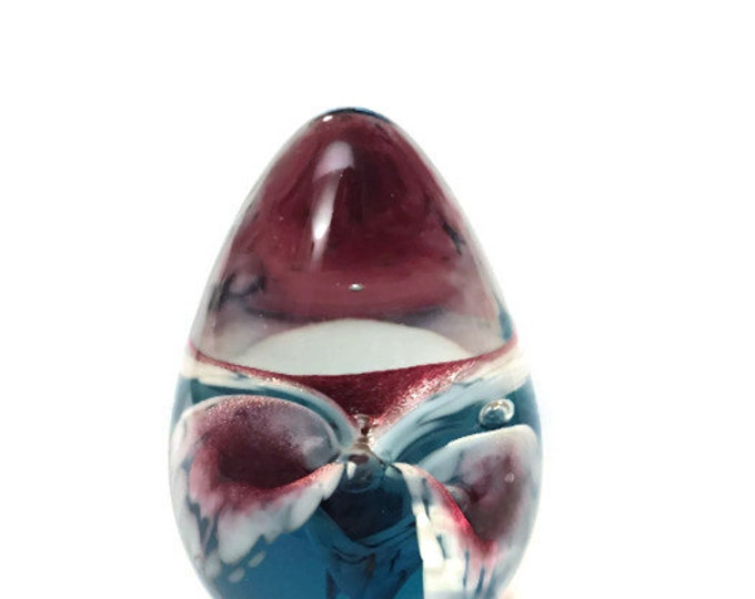 Art Glass Egg Paper Weight | Glass Eye Studio Art Glass Sculpture | Flower Core | GES Art Glass | Blown Glass Paper Weight