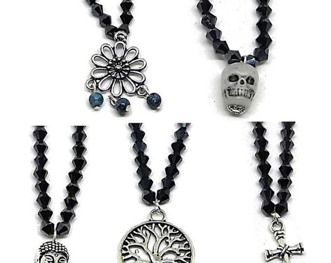 Hematite Australian Cut Crystal Beaded Bracelet / Black Bracelet / Customizable Stretch Bracelet / Tree of Life Cross Skull Flower Buddha