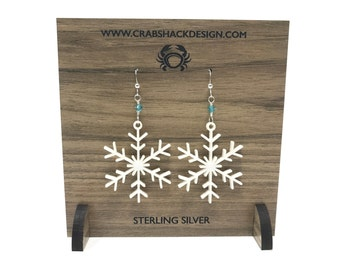 Snowflake Earrings | Acrylic | Sterling Silver | Swarovski Crystal | Gift Under 30 | Handmade | Winter Jewelry | Snow
