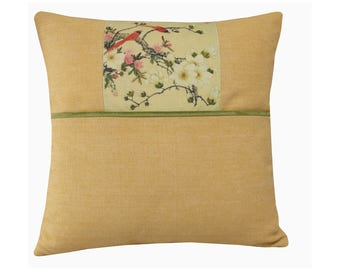 """Soft Yellow Pillow Cover with a Bird Design, Summer Yellow Pillow, Bird and Floral Cushion Cover, Yellow Floral Cushion, Bird Cushion 16x16"""""""