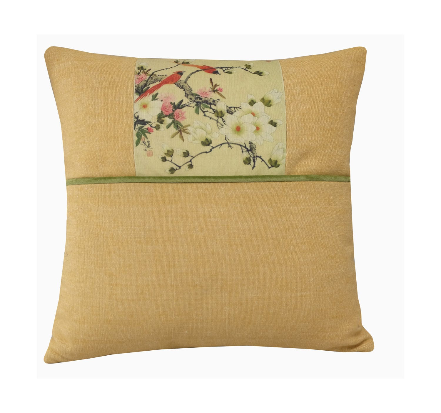 Pale Yellow Throw Pillow Cover : Yellow Floral Pillow Bird Throw Pillow 16x16 Light Yellow