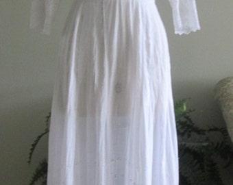 Exquisite Antique Edwardian Lingerie Dress Schiffli Embroidery/Tea Dress/Lawn Dress  #17024