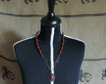 Red necklace, glass round beads, garnet beads, synthetic sunstone cabochon