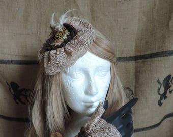 Matching fascinator and wristcuffs, steampunk, vintage lace