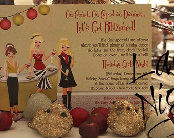 Holly Day Girls Night Christmas Invitations - Version A