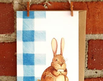 Illustrated Bunny Greeting Card stationery notecards blank