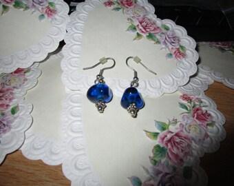 """vintage silvertone dangling earrings blue glass for pierced 1.75""""drop"""
