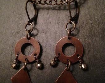 Copper Dangle Earrings, Copper Diamond Earrings, Pyrite Beads