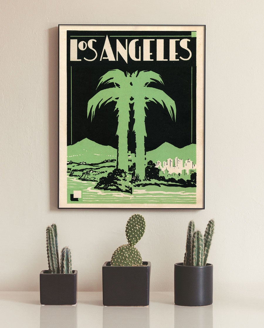 Los Angeles Poster Etsy - Vintage los angeles map poster