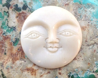Large Smiling Moon Face Carved Bone Pendant or Cabochon - 35 mm - 1 3/8 Inches