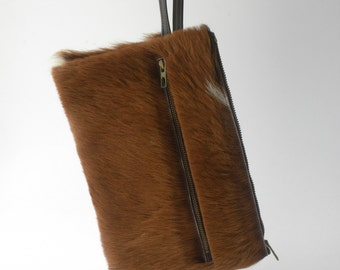 Vintage french Goatfur Goatskin clutch  60s - 70s  Beautiful condition