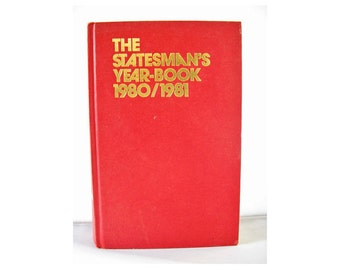 Vintage book The Statesman's Year-Book 1980-1981 Hardback encyclopedia maps data red hardback volume reference countries of the world 23